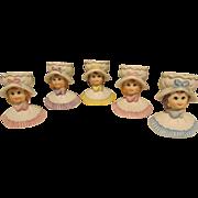 Five Little Lady Head Vases - Toothpick Holders