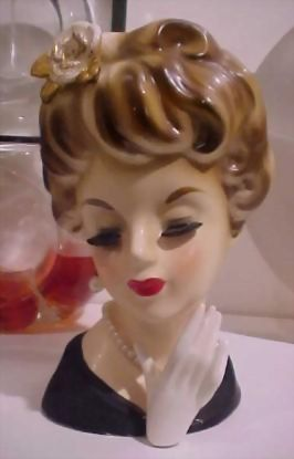 """Inarco 7"""" Lady Head Vase Flower in Hair & Hand"""