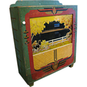 Vintage Arcade Game Wooden Cabinet Reverse Glass Painted Country Scene and Art Deco Paint Deco