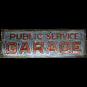 Antique Punched Metal Lighted Garage Sign