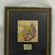 Vintage Original Folk Art Americana Tattoo Flash Art Eagle Shield Flags