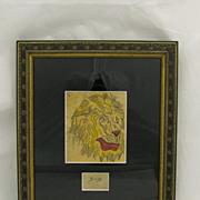 Vintage Folk Art Americana Original Tattoo Flash Art Smiling Lion