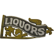 Antique Liquors Painted Wooden Trade Sign