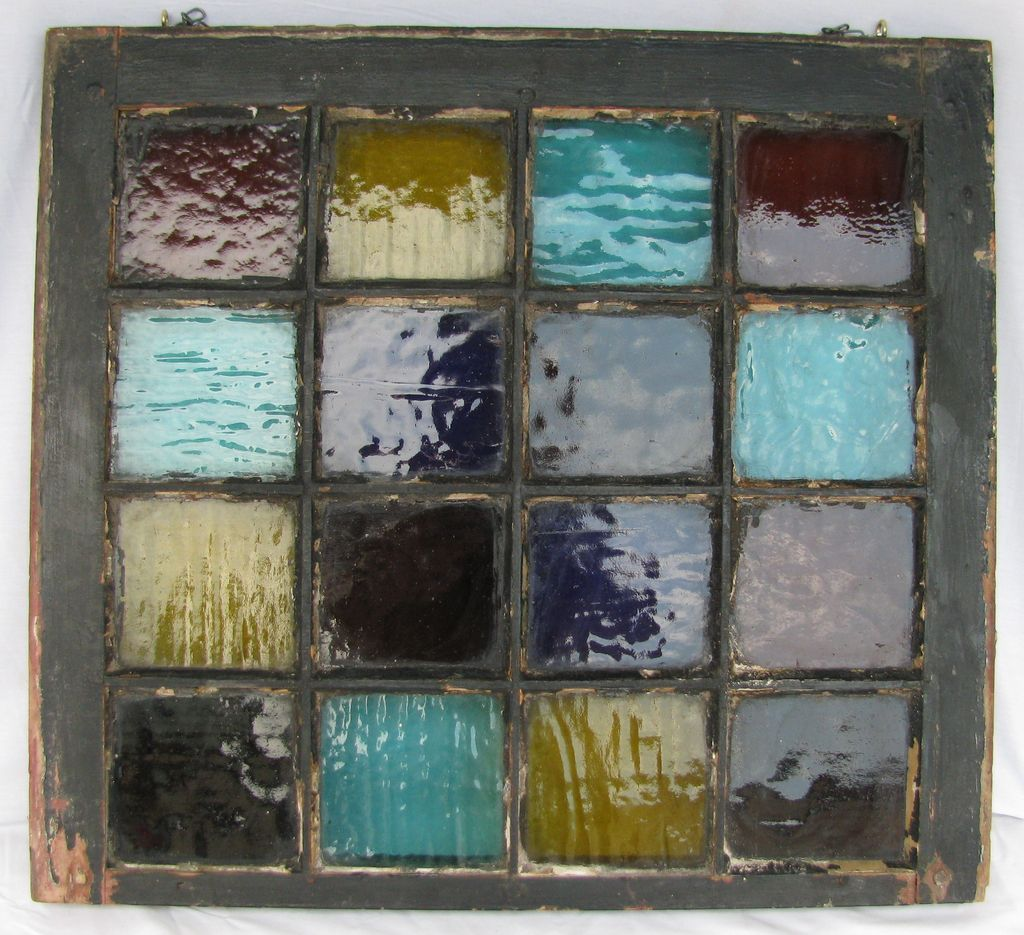 Antique colored stained glass window 16 panes from for 16 pane window