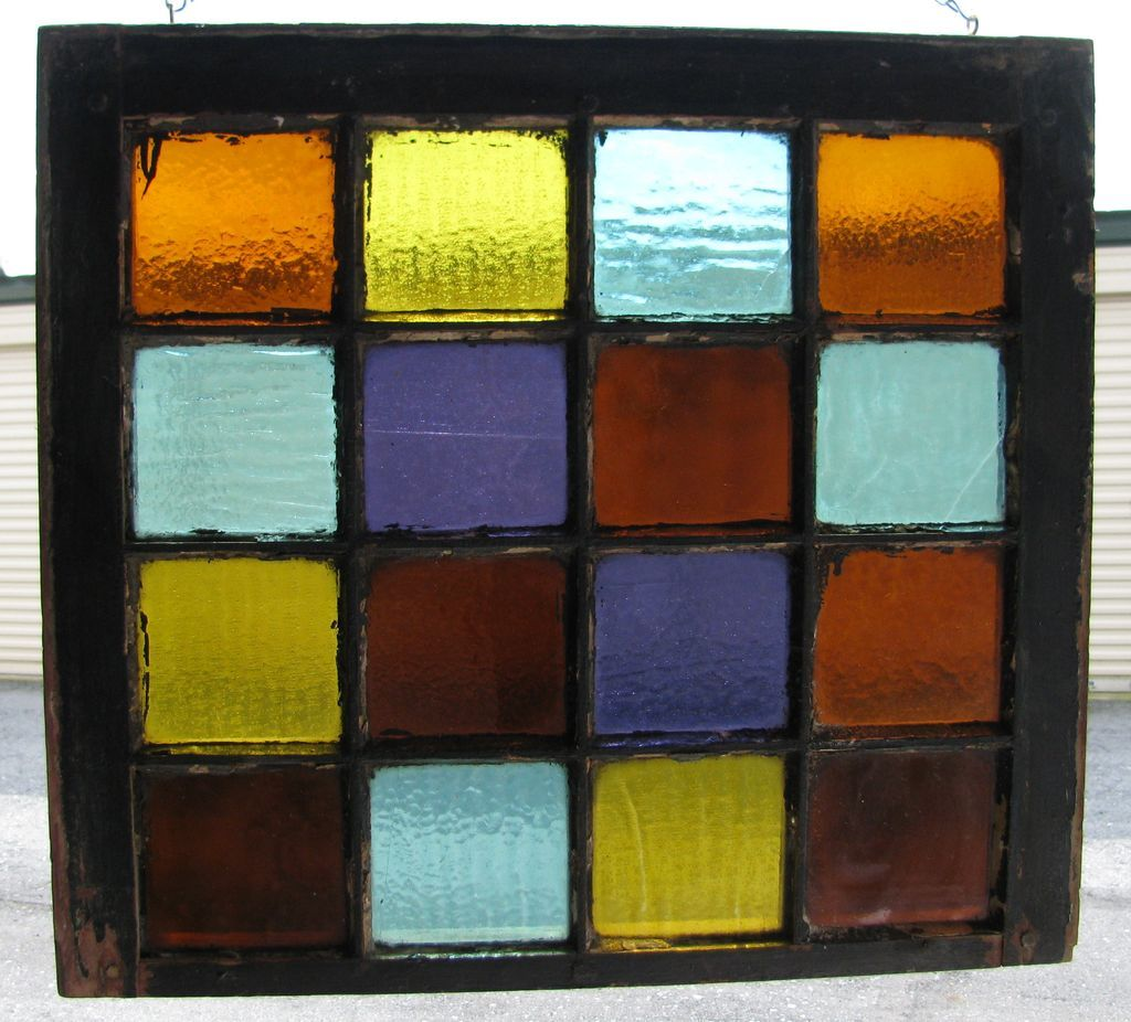 Antique Colored Stained Glass Window 16 Panes from ...