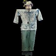 Vintage Ephemeral Folk Art Dressed Wooden Scarecrow