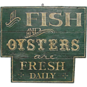 SOLD Antique Painted Fish and Oysters Sign