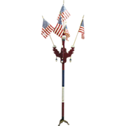 Vintage Patriotic Parade Route Marker Flag Stand
