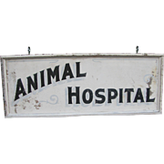 Vintage Wooden Painted Animal Hospital Sign