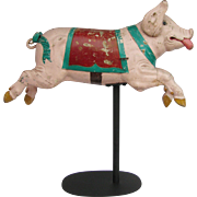 SOLD Antique Child's Carousel Ride Pig