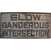 Antique Marble Wooden Road Warning Sign
