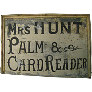 Antique Palm and Card Reader Tin Sign Palmist