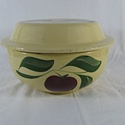Watt Ware Apple pattern Salad bowl with cover #73 rare advertising piece Coleman Wisconsin