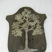 Antique Original American Fire Mark Green Tree Mutual Assurance Co. Philadelphia PA Cast Iron on Wood Frame 1784