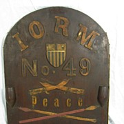 Antique Patriotic Fraternal International Order of Red Men Wooden Lodge Board Sign