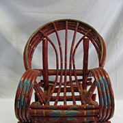 Outstanding Painted Child's Adirondack Willow Rocking Chair