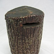 Vintage Wooden Stump Penny Bank