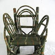 Vintage Folk Art Painted Child's Twig Rocking Chair