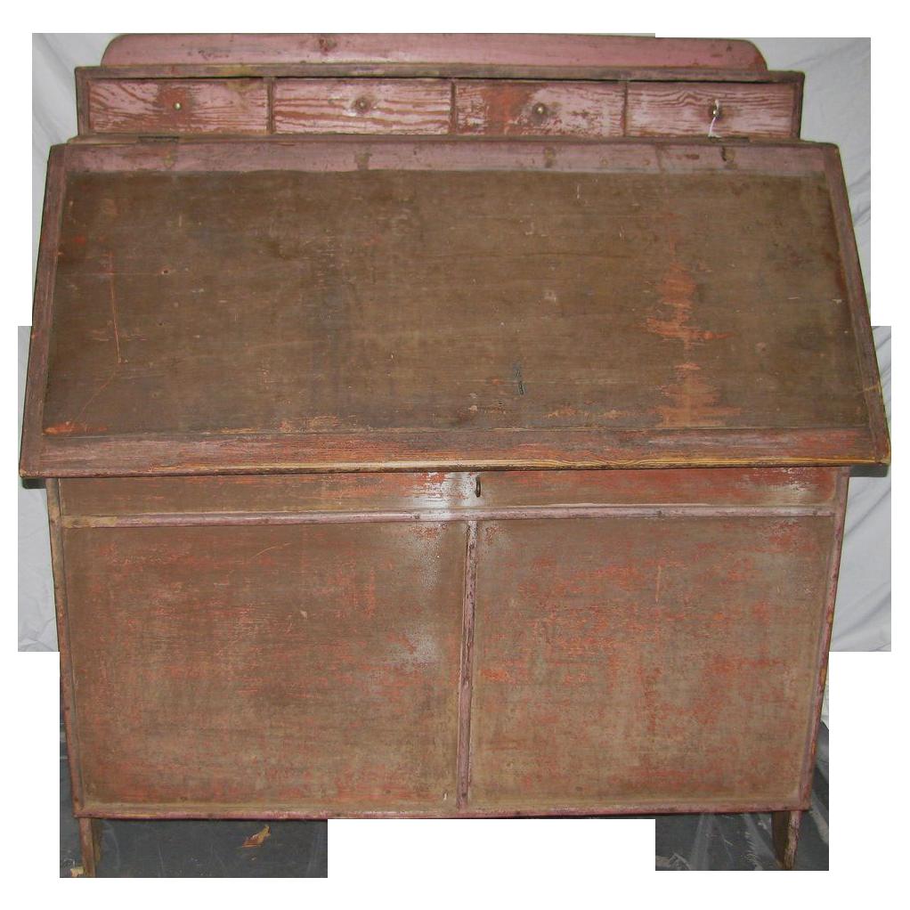Antique Bakers Cabinet Folk Painted Primitive
