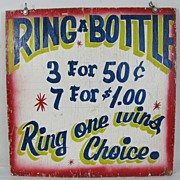 Vintage Bottle Ring toss Carnival Sign