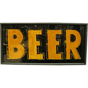 Antique Folk Art Reverse Glass Painted Breweriana Sign Beer