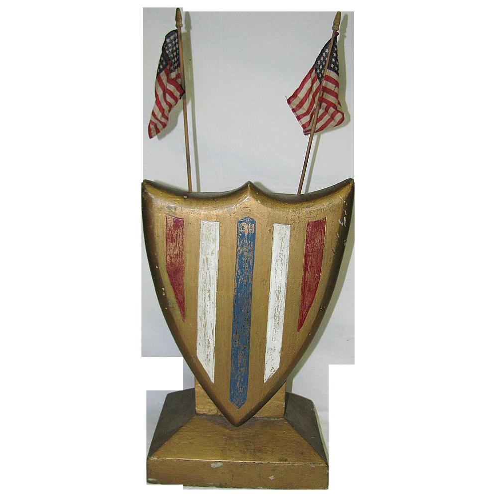 Vintage Art Deco Patriotic Americana Wooden Shield