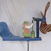 Vintage Folk Art Butter Churn Lady Whirligig