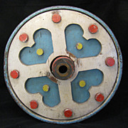 Vintage Painted Iron and Wood Painted Carousel Drive Wheel
