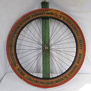 Vintage Painted Wooden Carnival Game Wheel of Chance Fire Companies