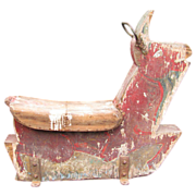 Vintage Carnival Wooden Painted Carousel Rabbit Ride