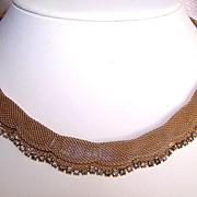 Book Piece: Vintage Hattie Carnegie Gold Plated Mesh Necklace with Rhinestones