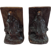"""PAIR """"KUNST FOUNDRY"""" BROOKLYN NY SIGNED BRONZE BOOKENDS VERY HEAVY"""