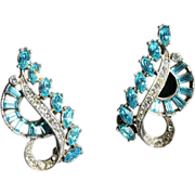 Wiesner Earrings-Swirling Design-Circa Early 1950's-Vintage Elegance