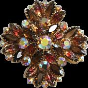 SALE Vintage Floral Brooch-Molded Leaves & Navettes-Grand Autumnal Splendor