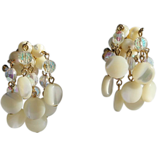 SALE Vendome Clip Earrings-Crystals & Mother of Pearl Dangles-Tres Chic