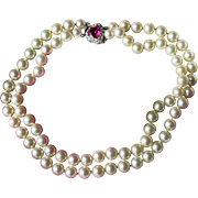 Mazer-Joseph Mazer-Fabulous Faux Pearl Necklace-9mm-Hand-knotted-Pink Crystal Clasp