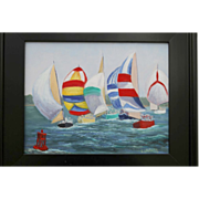 SALE Summer Regatta-Original Oil Painting by L. Warner-11 X 14 Framed Canvas Panel