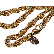 Erwin Pearl-29 Inch Rope Chain Necklace-Gorgeous Goldtone Links!
