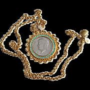 John F. Kennedy Coin Necklace-Bicentennial Half Dollar/Brilliant Pendant & Chain
