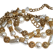 Miriam Haskell Necklace-42 Inches of Essence d'Orient Faux Pearls-Crystals & Gilt Metal-Gorgeo