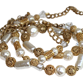 Miriam Haskell Necklace-42 Inches of Essence d'Orient Faux Pearls-Crystals & Gilt Metal-Gorgeous