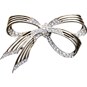 Boucher Bow Pin-Number 3399-Three Loop Bow with Paves-Classic Elegance