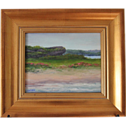 SALE Seascape-Hanging Rock-Rhode Island Landmark-8 X 10 Framed-Original Oil Painting by L. War