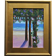 SALE Seascape-January Dreaming-Turquoise Water & Beach Cabana-11 X 14 Oil Painting by L. Warne