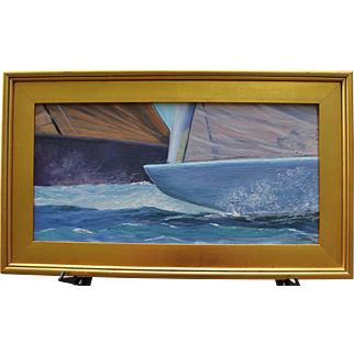 "Marine-12 Meter Sail Boats-""Pre-Start""-Framed 12 X 24 Oil Painting-L.Warner Artist"