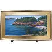 Seascape-Early AM-Newport, RI-Framed 12 X 24 Oil Painting-L. Warner Artist