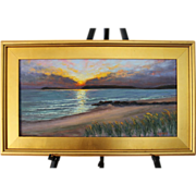 SALE Seascape Sunset-Mayo Beach, Wellfleet, MA- Framed 12 X 24 Oil Painting by L. Warner