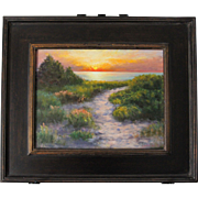 SALE Seascape-Sunset Beach-Framed 11 X 14 Oil Painting by L. Warner-Scenic Cape Cod