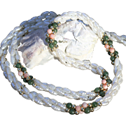 Freshwater Cultured Seed Pearl Necklace-Three Strands-Jade & Coral Bead Accents-Classic & ...