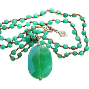 """Sequin Company Necklace-Retro Look in Faceted Quartz Beads-18"""" Drop of Soft Green Charm"""